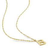 """Initial """"B"""" Pendant with Chain in 14k Yellow Gold"""