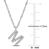 "0.04 CT Diamond Accent Initial ""M"" Pendant with Chain in 14k White Gold"