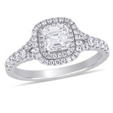 1 1/5 CT TDW Diamond Double Halo Split Shank Engagement Ring in 14k White Gold - 75000004128