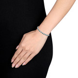 11 1/3 CT TGW Green Cubic Zirconia & Created White Sapphire Tennis Bracelet in Sterling Silver - 75000005156