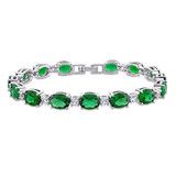 32 CT TGW Green Cubic Zirconia & Created white Sapphire Tennis Bracelet in Sterling Silver - 75000005162