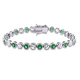 9.5 CT TGW Green Cubic Zirconia & Created White Sapphire Tennis Bracelet in Sterling Silver - 75000005169