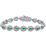 9-1/2 CT TGW Green Cubic Zirconia & Created White Sapphire Tennis Bracelet in Sterling Silver - 75000005173