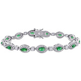 9 1/2 CT TGW Green Cubic Zirconia & Created White Sapphire Tennis Bracelet in Sterling Silver - 75000005179