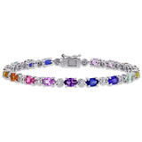 0.02 CT TDW Diamond and 9 7/8 CT TGW Multi-Color Created Sapphire Tennis Bracelet in Sterling Silver - 75000005186
