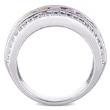 3 7/8 CT TGW Multi-Color Created Sapphire Anniversary Band Ring in Sterling Silver - 75000005187
