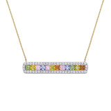 3 1/2 CT TGW Multi Color Sapphire Pendant with Chain in 14k Yellow Gold - 75000005190