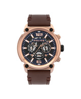 Armor Dark Blue Dial Dark Brown Leather Strap Watch - PL.14378JSR/03