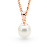 9ct Rose Gold White 10-10.5mm Freshwater Pearl Pendant - IP24WRG