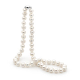 White Circle 8-9mm Freshwater Pearl Strand Sterling Silver Clasp 50cm - MF89-W-50CM