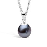9ct White Gold Dyed Black 10mm Freshwater Pearl Pendant - IP24BWhite Gold