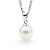 9ct White Gold White 10-10.5mm Freshwater Pearl Pendant - IP24WWhite Gold