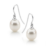 9ct White Gold White 10-10.5mm Drop Freshwater Pearl Hooks - IP75WWhite Gold