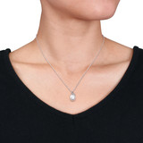 0.01 CT TDW Diamond and White Freshwater Cultured Pearl Pendant with Chain in Sterling Silver - 75000005499