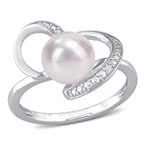 0.02 CT TDW Diamond and White Freshwater Cultured Pearl Ring in Sterling Silver - 75000005469