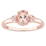 0.05 CT TDW Diamond and 3/4 CT TGW Morganite Engagement Ring in Pink Silver - 75000005412