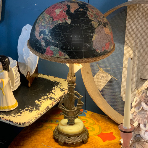 Antique Table Lamp with Vintage Globe Shade