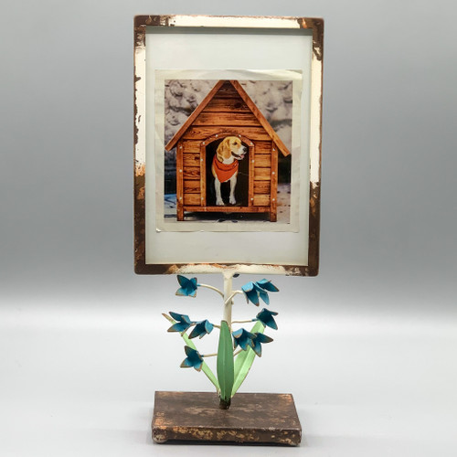 Metal Picture Frame with Blue Flowers, 5 x 7