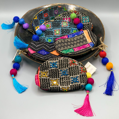 Crescent Pouch with Tassel, handmade in India
