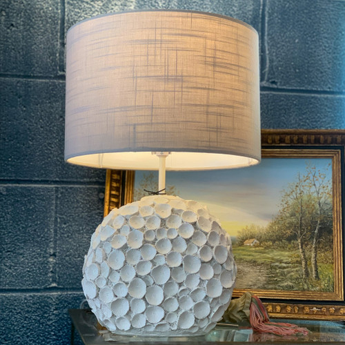 Coastal White Lamp with Linen Shade