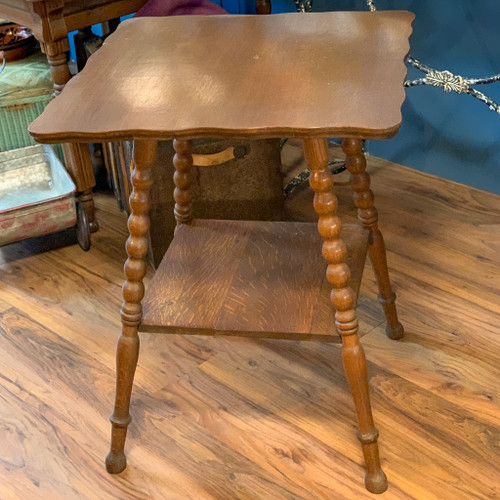 Antique Oak Scalloped Table with Turned Legs