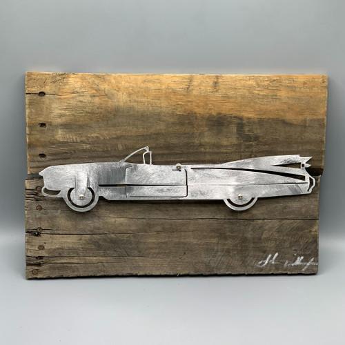 Metal & Reclaimed Wood Art by John Wilcoxon - Large Corvette