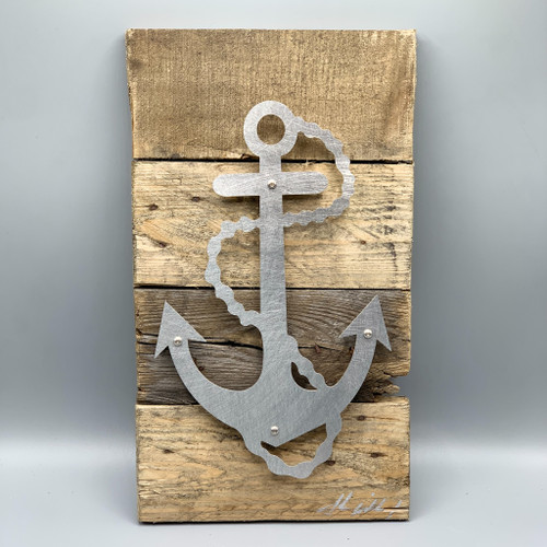 Metal & Reclaimed Wood Art by John Wilcoxon - Large Anchor