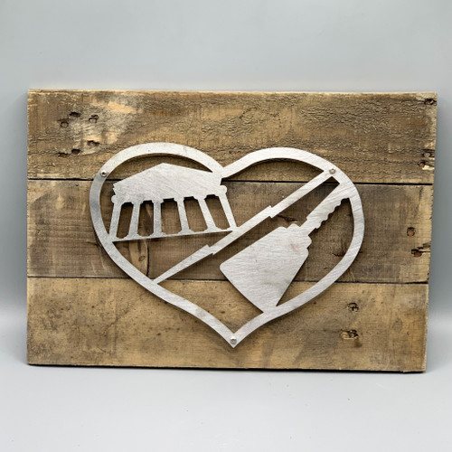 Metal & Reclaimed Wood Art by John Wilcoxon - House Divided - Ole Miss / MSU
