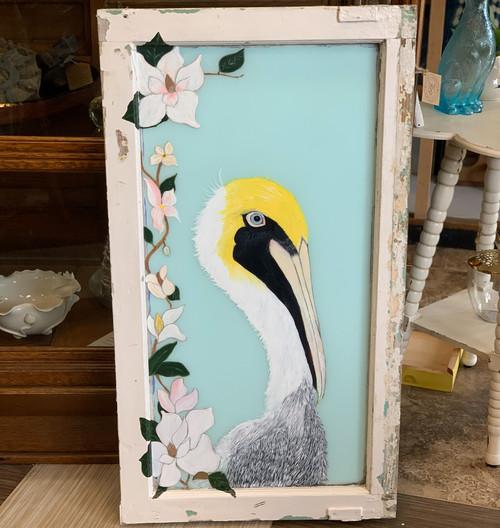 Original Pelican Art on Antique Window