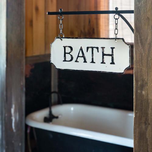 Metal Bath Sign w/Hanging Display Bar