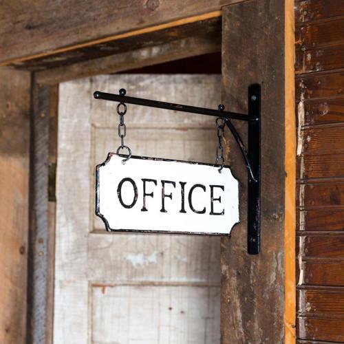 Metal Office Sign w/Hanging Display Bar