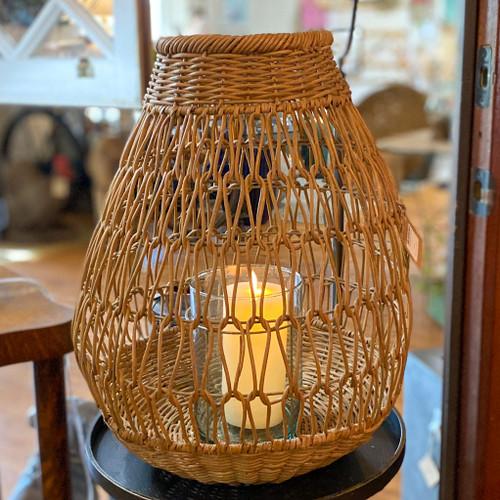 Hand-Woven Rattan Lantern with Glass Insert