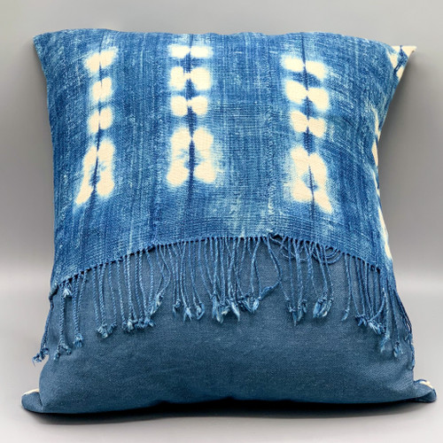 Vintage Mud Cloth Pillow with Fringe