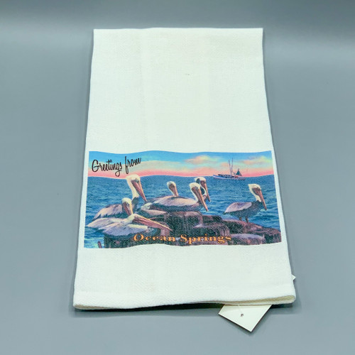 Greetings from Ocean Springs, Pelicans Tea Towel