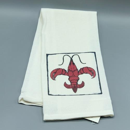 Crawfish Fleur de Lis Tea Towel