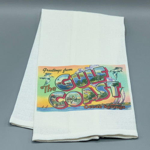 """Greetings from the Gulf Coast, Ocean Springs"" Tea Towel"