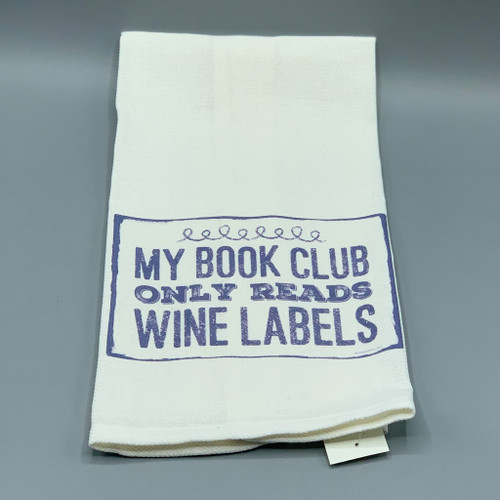 """My Book Club Only Reads Wine Labels"" Tea Towel"