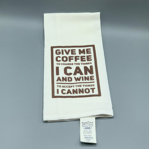 Coffee & Wine Serenity Prayer Tea Towel