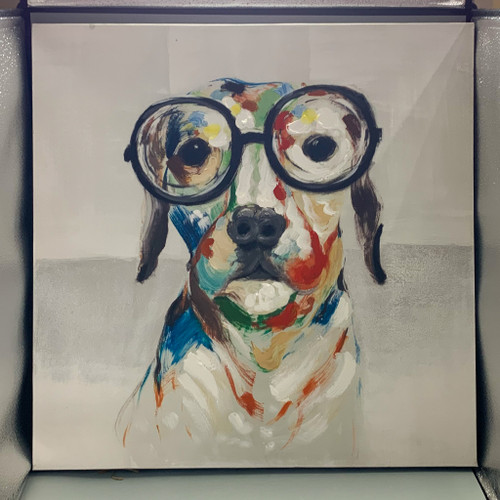 Dog in Glasses Oil Painting