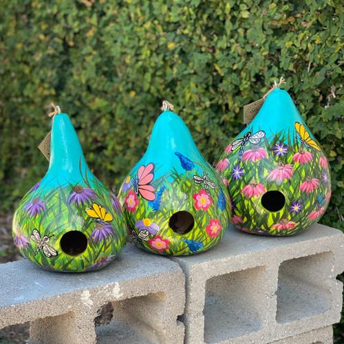 Hand-Painted Flowers Gourd Bird House