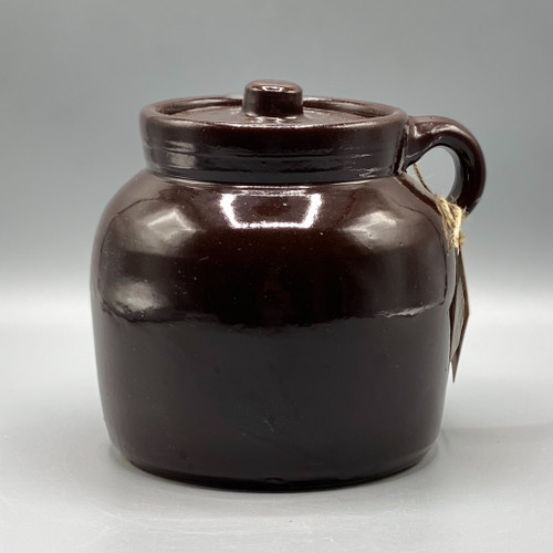 Vintage Brown Pottery Cookie Jar / Bean Pot
