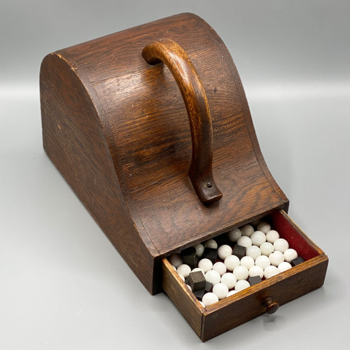 Antique Oak Ballot Box with White Marbles & Black Cubes