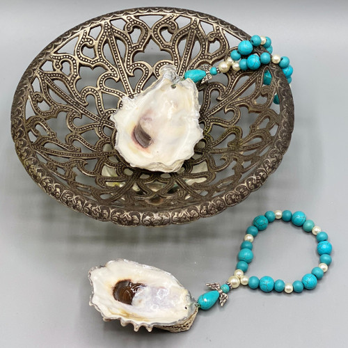 Oyster Shell Adornment with Silver Trim & Turquoise Angel Beads