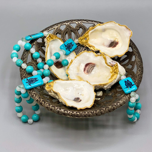 Oyster Shell Adornment with Turquoise Turtle Beads