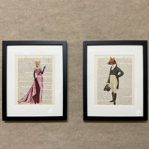 """Framed """"Fancy"""" Fox Print on Antique Book Page"""