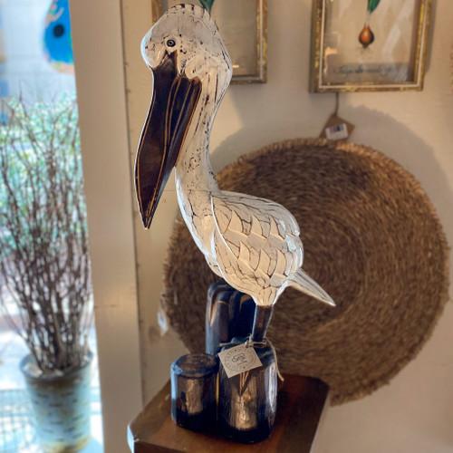 """25"""" Wooden Pelican on Triple Post"""