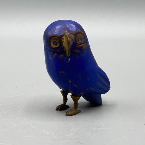Blue Wooden Owl w/Brass Feet, Beak & Eyes