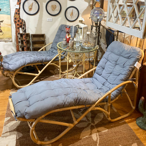 Rattan Lounge Chaise with Cushion