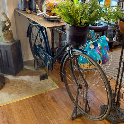 Metal Reclaimed Bicycle Bar / Table with Reclaimed Wood