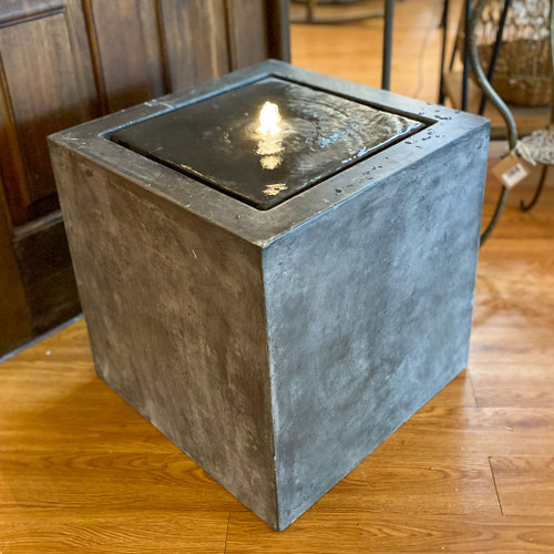Large Square Cement Fountain with LED Light
